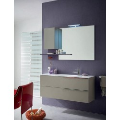 Salle de bain Boris, profondeur 35 cm, gain de place, coloris chanvre mat, iris mat