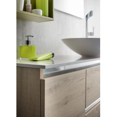 Igor bathroom, depth 35 cm, space-saving, clay knotted color, matt kiwi