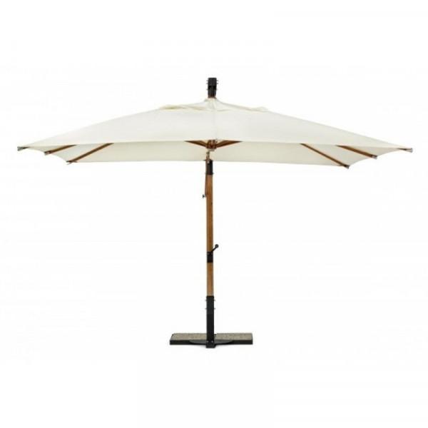 Capua arm umbrella, 3X3 ecru color, wooden frame and polyester fabric
