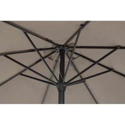 Parapluie Kalife 3M, structure acier anthracite, tissu polyester gris tourterelle
