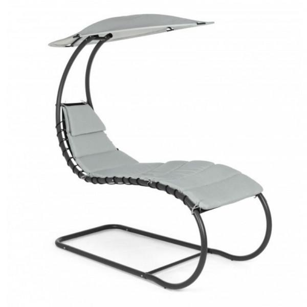 Chaise longue Larry, struttura in acciaio, telo colore grigio