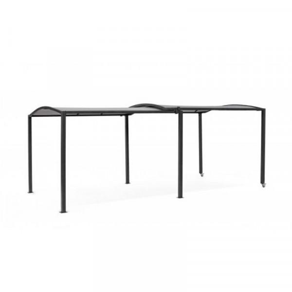 Gazebo Nolan con struttura in acciaio, estensibile, tettuccio grigio scuro in poliestere