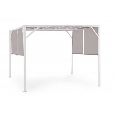 Cyprus gazebo 3X3, with white steel structure, dove gray polyester fabric
