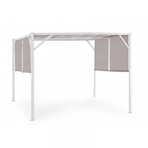 Gazebo Chypre 3X3, avec structure en acier blanc, tissu polyester gris tourterelle