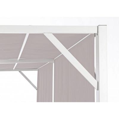 Gazebo Cipro 3X3, con struttura in acciaio bianco, telo poliestere colore tortora