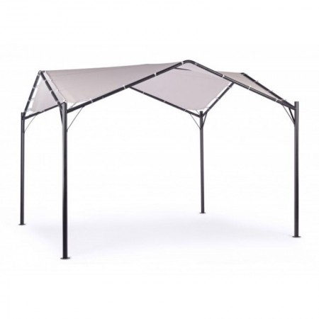 Dome gazebo 3.5X3.5 structure in anthracite steel, fabric in gray polyester