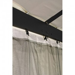 Fiesta gazebo 3X6 steel roof, polyester canvas with mosquito nets, dove gray color