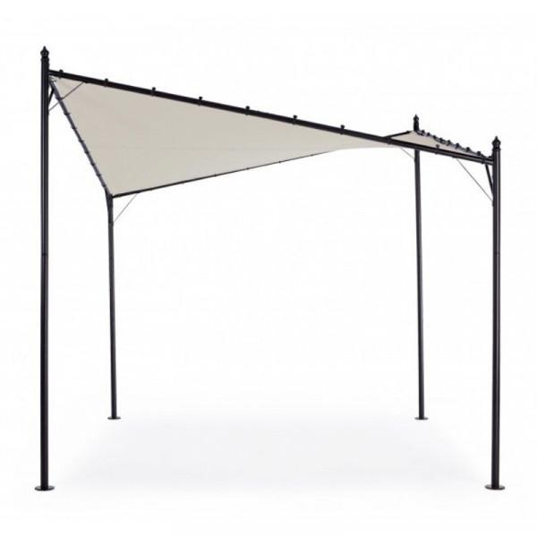 Gazebo Gerba 3X3 avec structure en acier, toile polyester de couleur gris tourterelle