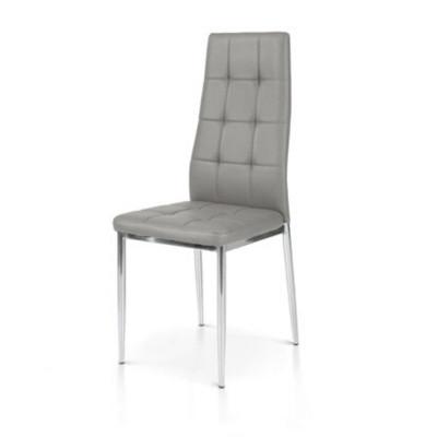 Chaise Sidney avec structure en métal et assise en éco-cuir, emballage de 6 pièces.