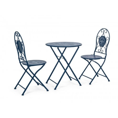 Bistrot Pacific outdoor table and 2 chairs set in steel