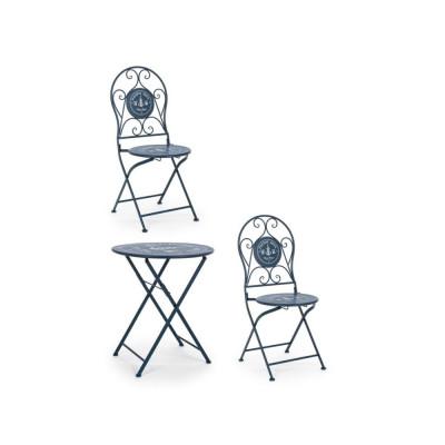 Bistrot Pacific set tavolo e 2 sedie da esterno in acciaio