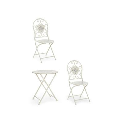 Bistrot Compass set tavolo e 2 sedie da esterno in acciaio