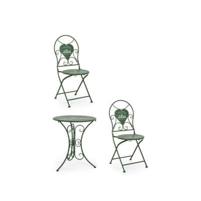 Bistrot Park set tavolo e 2 sedie da esterno in acciaio