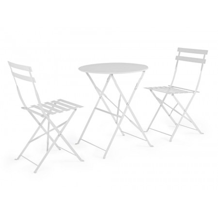 Bistrot Wissant outdoor table and 2 chairs set in steel