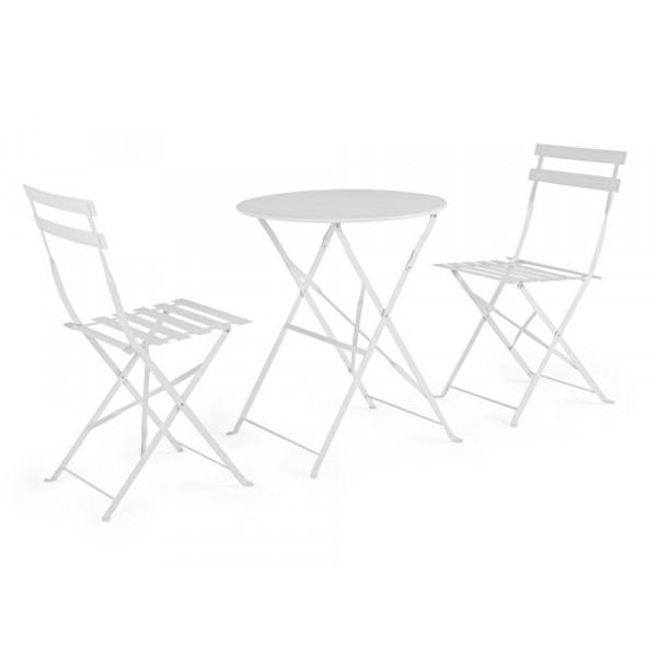 Bistrot Wissant set tavolo e 2 sedie da esterno in acciaio