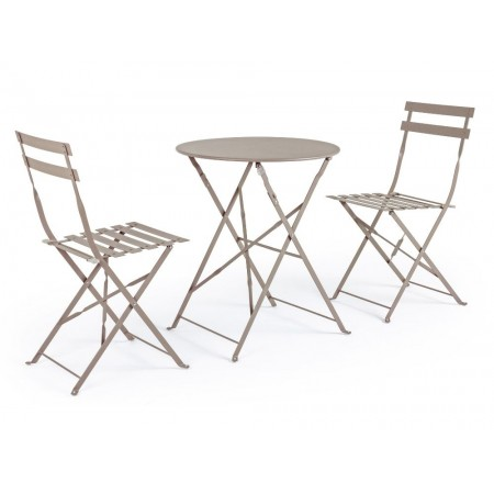 Bistrot Wissant Atmo outdoor table and 2 chairs set in steel