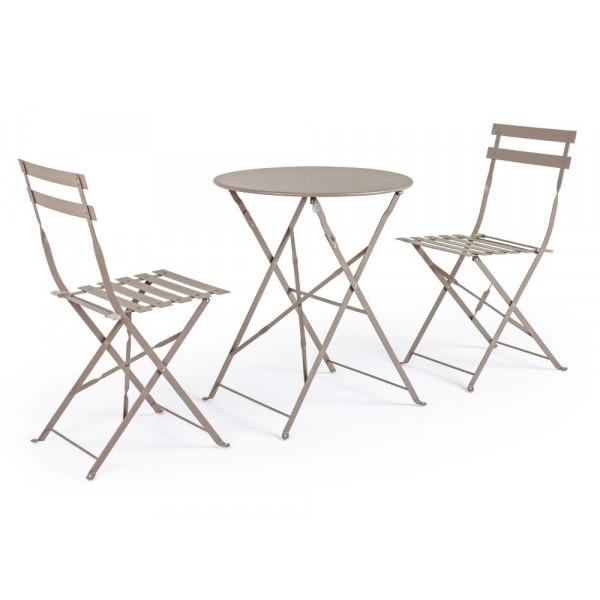 Bistrot Wissant Atmo set tavolo e 2 sedie da esterno in acciaio