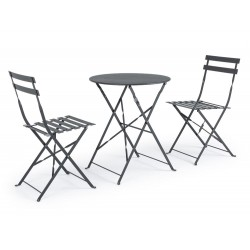 Bistrot Wissant Anthracite outdoor table and 2 chairs set in steel