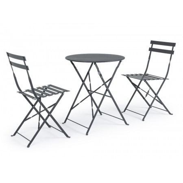 Bistrot Wissant Antracite set tavolo e 2 sedie da esterno in acciaio