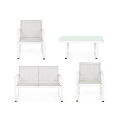 Salotto Axten bianco, set 4 pezzi JA16
