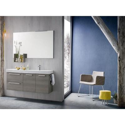 Salle de bain Kevin, gain de place 35 cm de profondeur, coloris Chêne Gris Clair