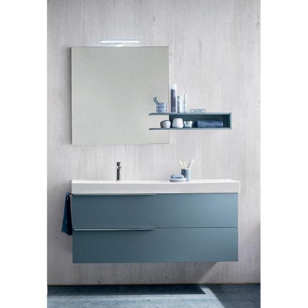Bagno Calisto Profondità 35 cm salvaspazio, colore Ideal color, Ceruleo Opaco