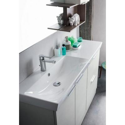 Salle de bain Egan, gain de place 35 cm de profondeur, Frêne Orme, Couleur Blanc Orme