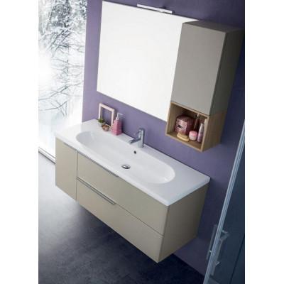 Salle de bain Sanseno profondeur 45 cm, couleur Chanvre Mat, Chêne Naturel