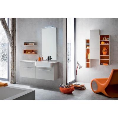 Alfio bathroom depth 35 cm, space-saving, white color, papaya