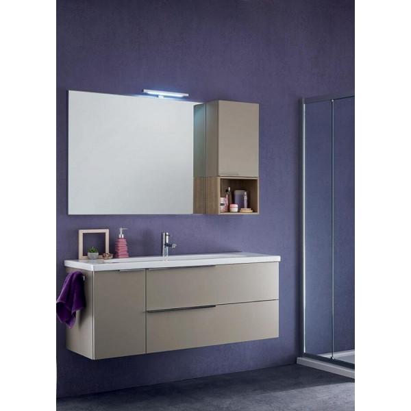 Sanseno bathroom depth 45 cm, Matt Hemp color, Natural Oak