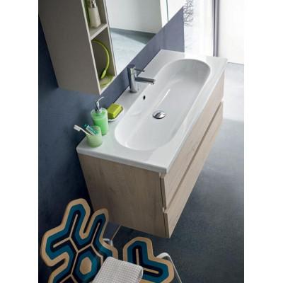 Salle de bain Rigi profondeur 45 cm, coloris chêne naturel noué, laque chanvre mat
