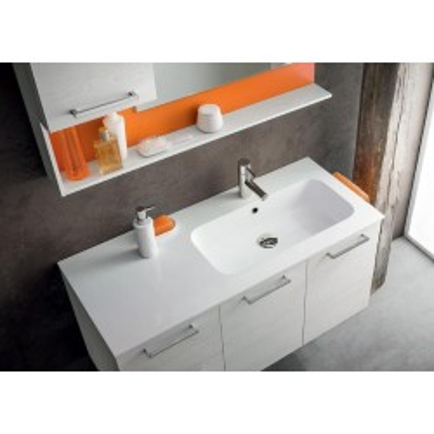 Salle de bain Sirio profondeur 45, coloris Blanc Noué, Laqué Papaye Mat