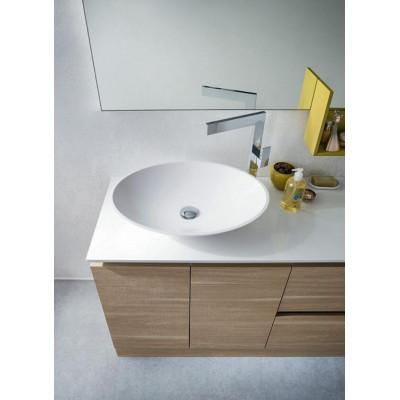 Nettuno bathroom depth 45 cm, Natural Oak, Matt Mustard color