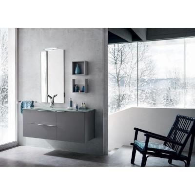 Rovigo bathroom, depth 50 cm, color Terranova Opaco, Platino Opaco