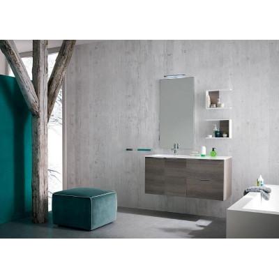 Salle de bain Palermo profondeur 50 cm, couleur Chêne Gris Foncé, Blanc Mat