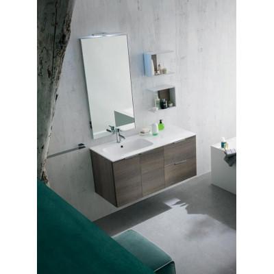 Bagno Palermo profondità 50 cm, colore Rovere Grigio scuro, Bianco Opaco
