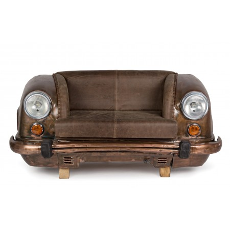 Ambassador 2 seater sofa with genuine buffalo leather seat, brown body color