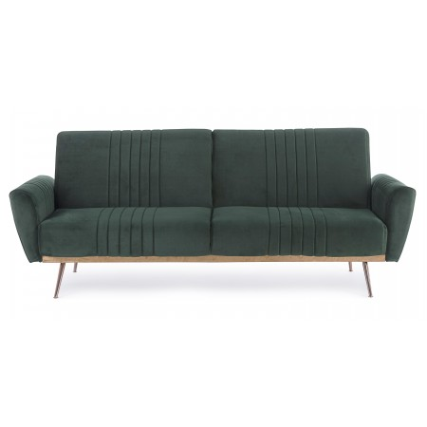 Johnny sofa bed with eucalyptus wood structure, dark green velvet