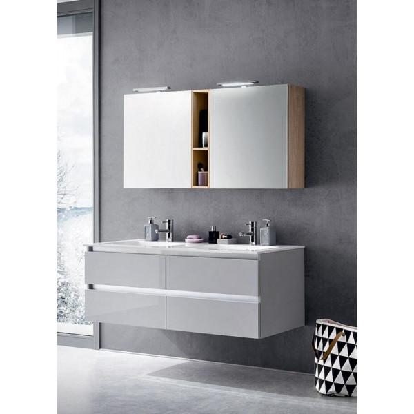 Goran bathroom depth 50 cm, color Glossy Light Gray, Natural Oak