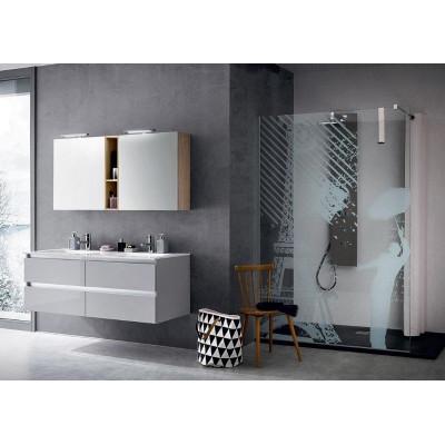 Salle de bain Goran profondeur 50 cm, couleur Gris Clair Brillant, Chêne Naturel