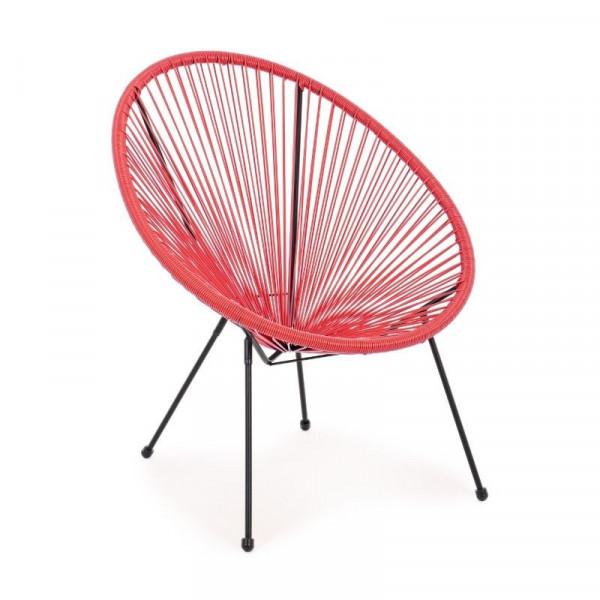 Poltrona da esterno Parker in acciaio, colore rosso, x 4 pz