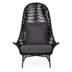 CC Tablita lounge chair, in aluminum, Woven in water-repellent rope
