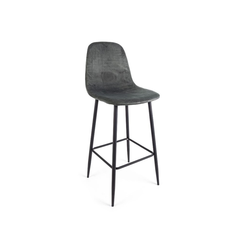 Irelia bar stool in velvet, dark gray