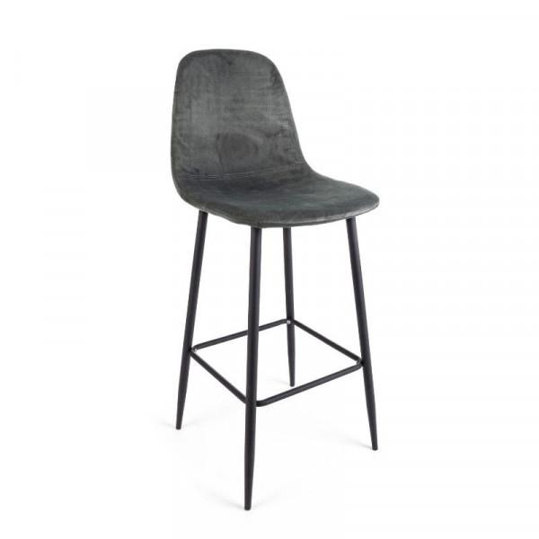 Irelia bar stool in velvet, dark gray color and tubular steel legs, x 2 pcs.