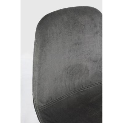 Sgabello bar Irelia in velluto, colore grigio scuro e gambe in acciaio tubolare, x 2 pz.