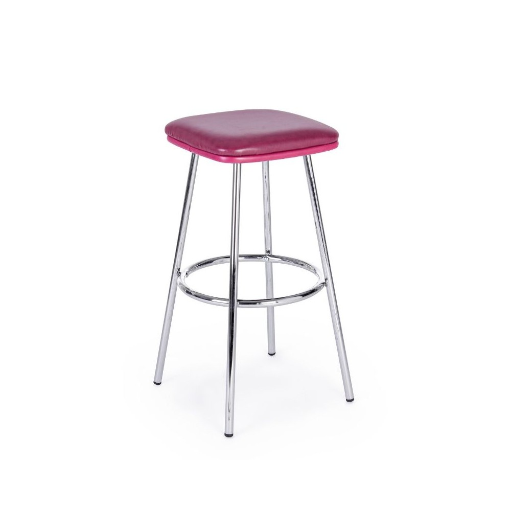 Agnes bar stool in red eco-leather,