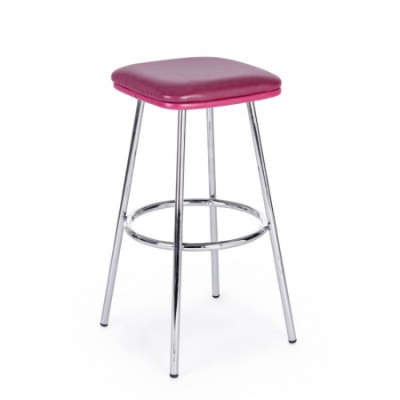 Agnes bar stool in red eco-leather, chromed steel legs, x 2 pcs