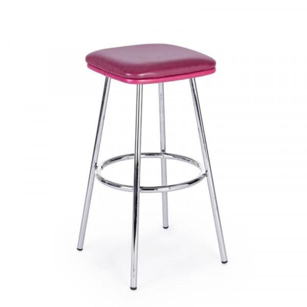 Sgabello bar Agnes in ecopelle colore rosso, gambe in acciaio cromato, x 2 pz