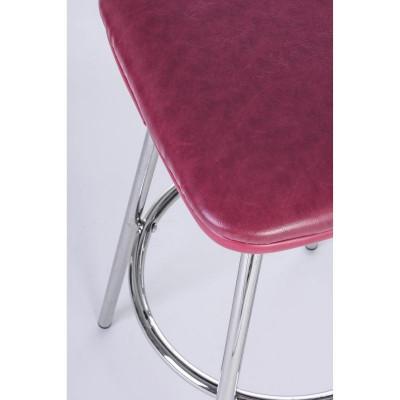 Tabouret de bar Agnes en éco-cuir rouge, pieds en acier chromé, x 2 pcs