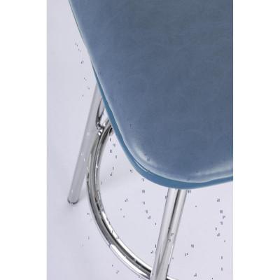 Tabouret de bar Agnes en éco-cuir bleu, pieds en acier chromé, x 2 pcs